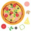 Pizza and ingredients - Stock Vector