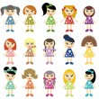 Many girls on white background — Stock Vector #8854742