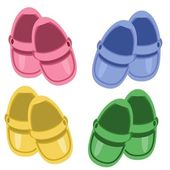 Children shoes on white background — Stock Vector