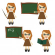 Nice teacher in different positions — Stock Vector