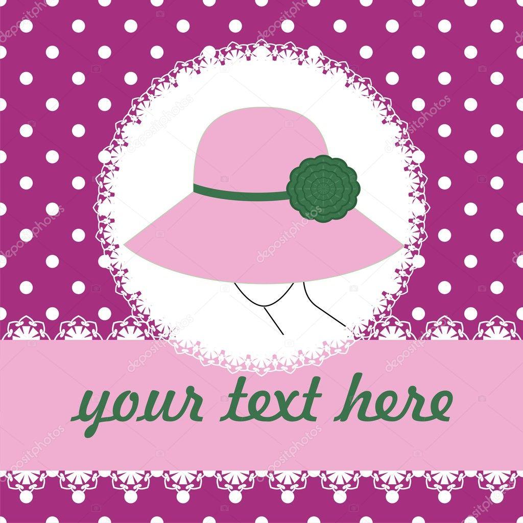 背景与帽子的女人 — 图库矢量图片