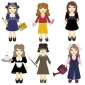 Six nice girls of different professions — Stock Vector
