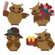 Four nice owls with different objects — Stock Vector #9306037