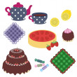 Set with objects for tea party - Stock Vector