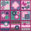 Patchwork set seamless with different scrapbook objects — Stock Vector