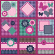 Patchwork set seamless with different scrapbook objects — Image vectorielle