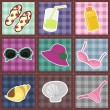 Patchwork pattern with beach objects - Stock Vector