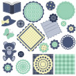 Set with scrapbook objects on white - Stock Vector
