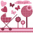 Stock Vector: Set with scrapbook object newborn girl
