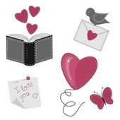 Set with romantic love objects — Stock Vector