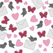 Seamless background with birds, butterflies and hearts — Stok Vektör