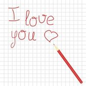 Declaration of love and pencil — Stock Vector