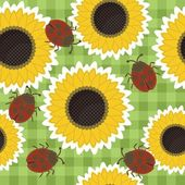 Seamless scrapbook background with sunflowers and ladybirds — Stock Vector