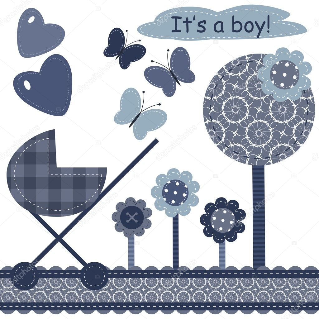 set with scrapbook object for newborn boy vector — Stock Vector #9529713