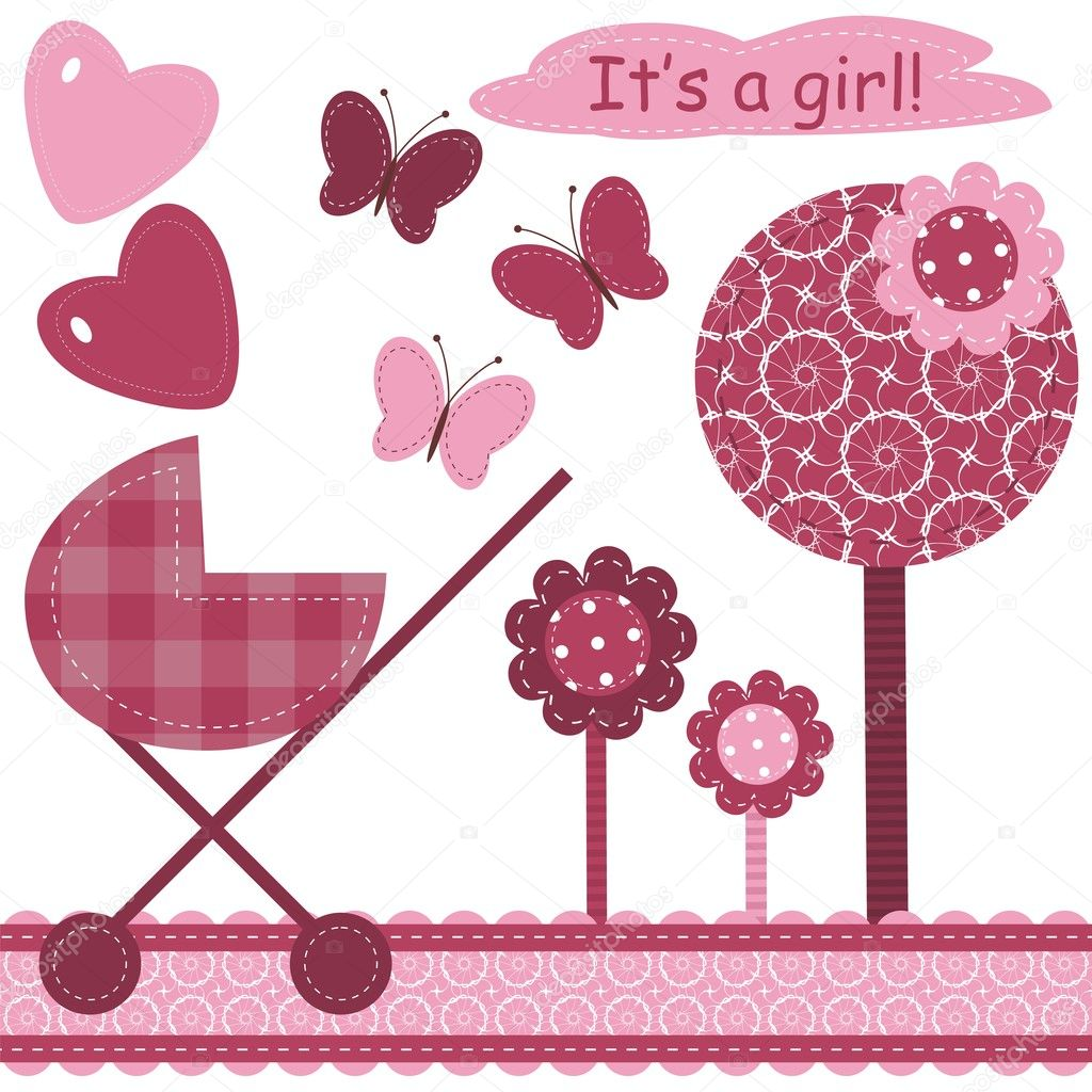 set with scrapbook object newborn girl vector — Stock Vector #9529715
