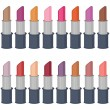 Set with lipsticks on white — Stock Vector