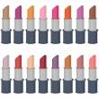 Set with lipsticks on white — Stock Vector