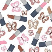 Seamless background with lipsticks and butterflies — Stockvector