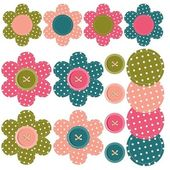 Set with scrapbook flowers and buttons — Stock Vector