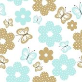 Seamless background with scrapbook objects and butterflies — Stock Vector