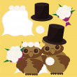 Stock Vector: Nice owls bridegroom and bride