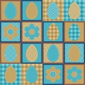 Easter patchwork background with eggs and flowers — Stock Vector