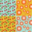 Four seamless backgrounds with cherry and flowers — Stockvektor