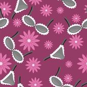 Seamless pattern with lingerie and flowers — ストックベクタ
