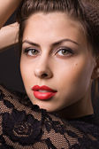 Beautiful woman with red lips — Stock Photo