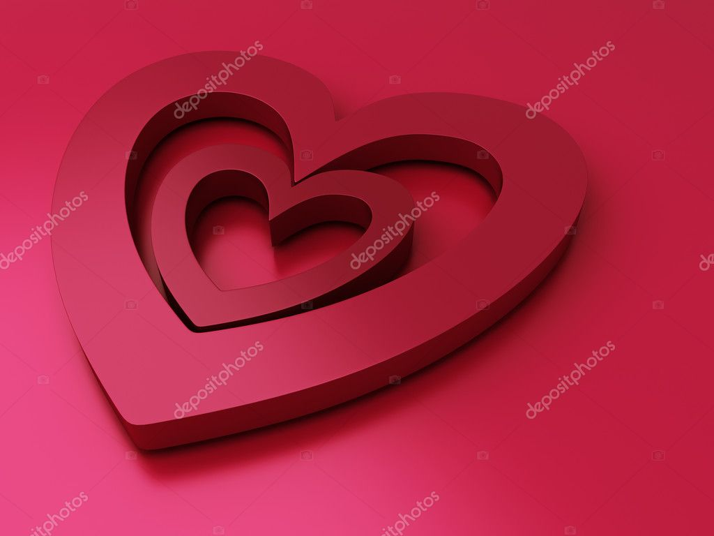 Red metallic background with two hearts (Saint Valentine's Day) — Stock Photo #9316465