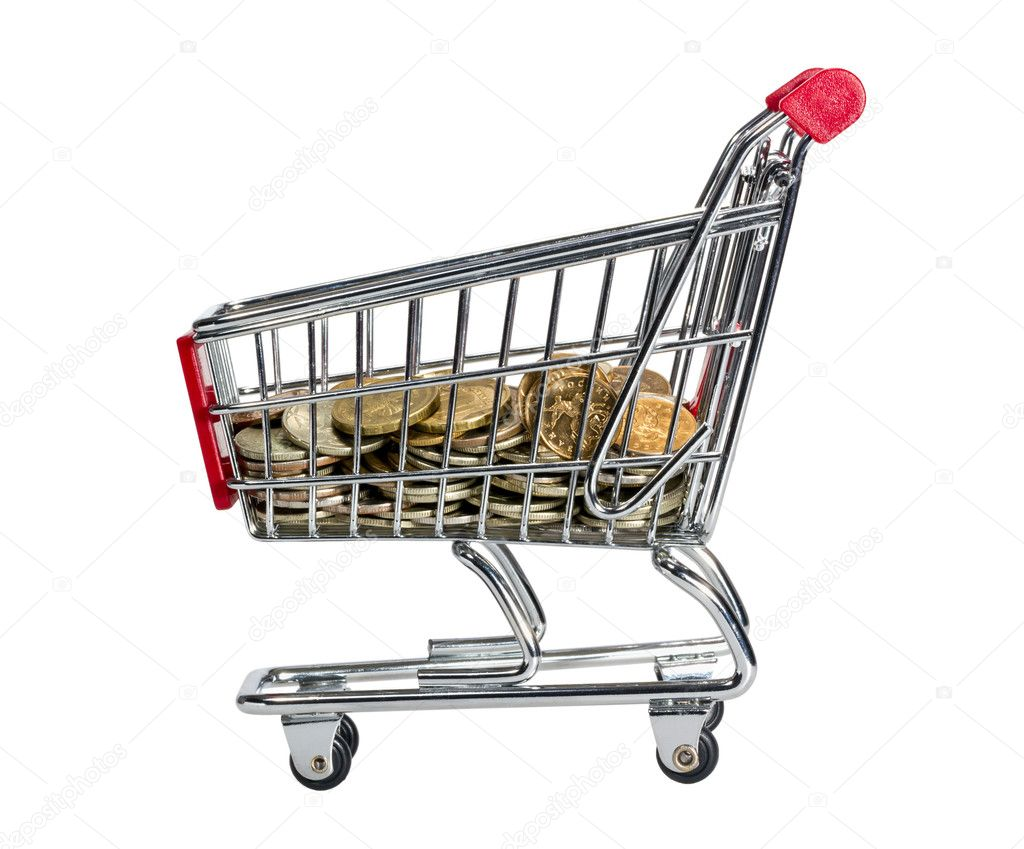 Shopping Cart with money isolated on white background — Stock Photo #9391190