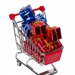 Shopping Cart with gift boxes — Stock Photo #9615705