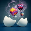 Balloons take off from the broken eggs. — Stock Photo #9062823