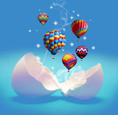Balloons take off from the broken eggs. — Stock Photo