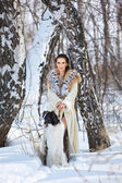 Woman with borzoi outdoors — Стоковое фото