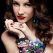 Beautiful woman in jewelry — Stock fotografie