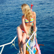 Blonde girl on yacht — Stock Photo #8352979