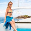 Blonde girl on yacht — Stock Photo #8353111