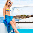 Blonde girl on yacht — Stock Photo #8353122