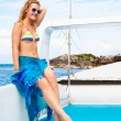 Blonde girl on yacht — Stock Photo