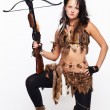 Woman with arbalest - Stock Photo