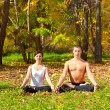 Yoga padmasana pose — Foto Stock