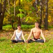 Yoga padmasana pose — Stockfoto