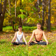 Stock Photo: Yoga padmasana pose