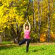 Yoga vrikshasana tree pose — Stockfoto
