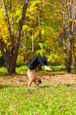 Yoga vrishchikasana pose — Stock Photo