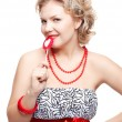 Stock Photo: Blonde woman with lollipop