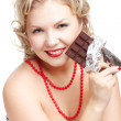 Woman with chocolate bar — Stock Photo #9348303