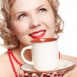 Blonde woman with cup — Stock Photo #9348312