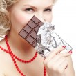 Woman with chocolate bar — Stock Photo #9348314